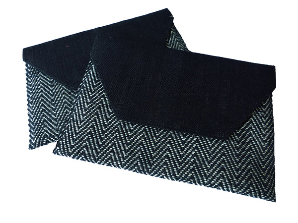 Chevron Jute Envelope Clutch