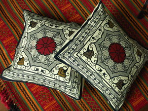 Floral View - Block Print Cotton Cushion Cover - Bay & Harbour