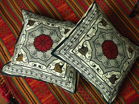 Floral View - Block Print Cotton Cushion Cover