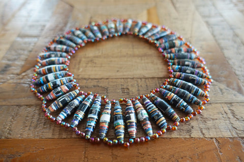 Recycled Paper Bead Necklace - Bay & Harbour