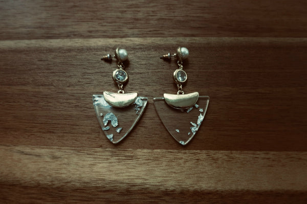 Acrylic & Pearl Chandelier Earrings