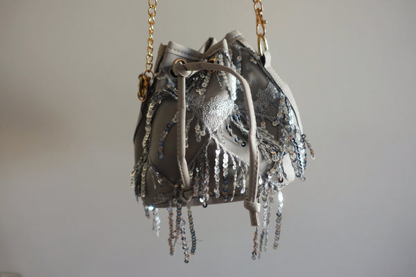 Gray Embellished Bucket Bag