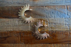 Gold Spikes Hoop Earrings - Bay & Harbour