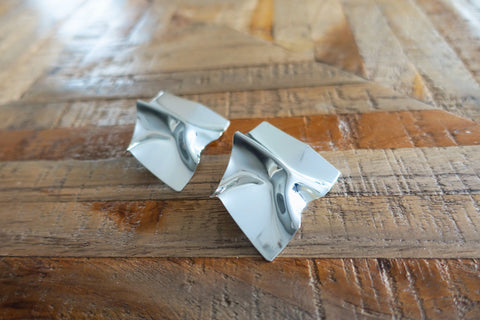 Silver Folded Metal Stud Earrings