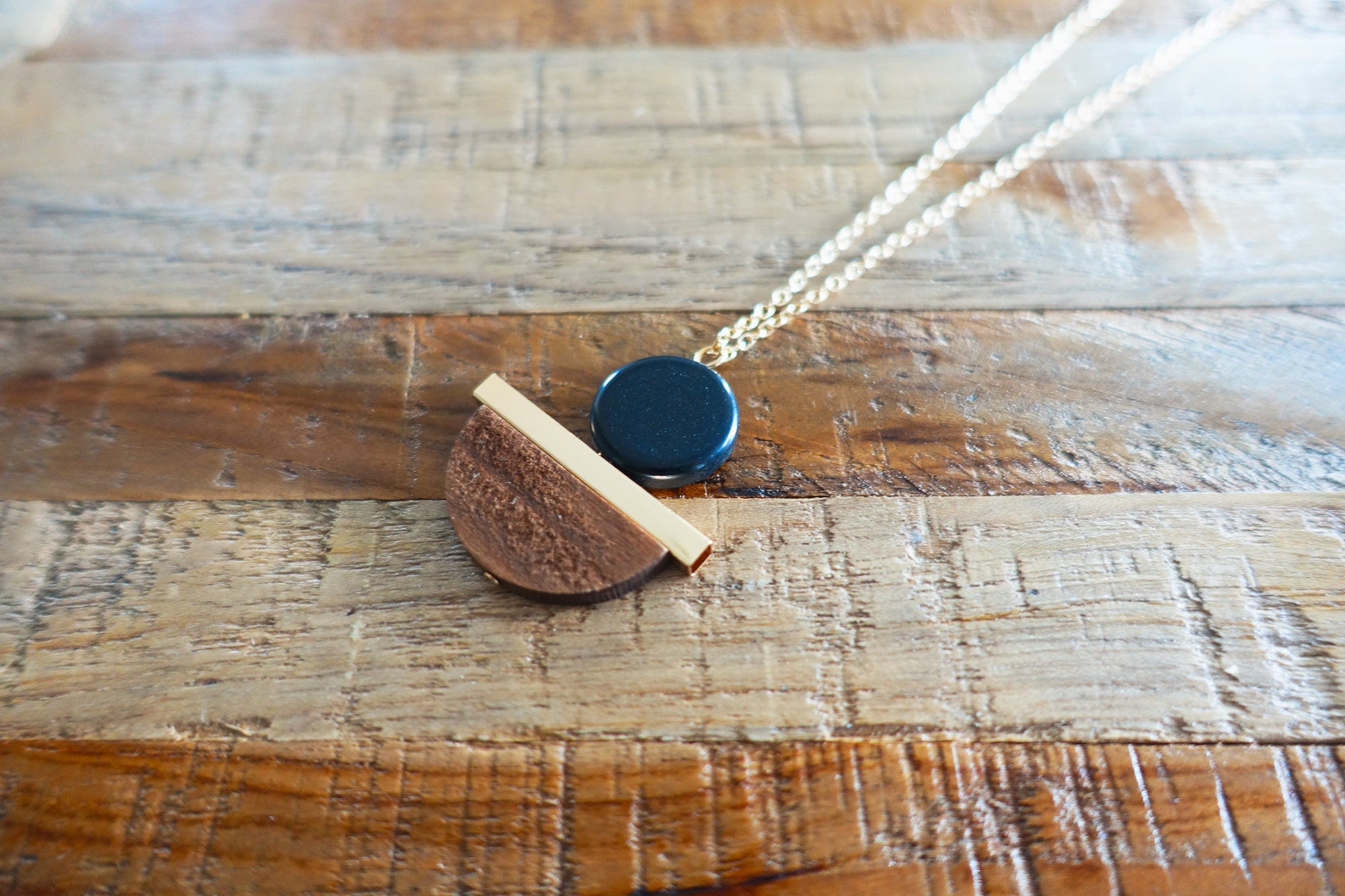 Mix Metal & Wood Pendant Necklace - Bay & Harbour