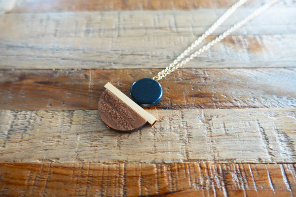 Mix Metal & Wood Pendant Necklace
