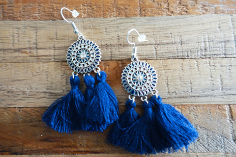 Blue Fringe Tassel Earrings - Bay & Harbour