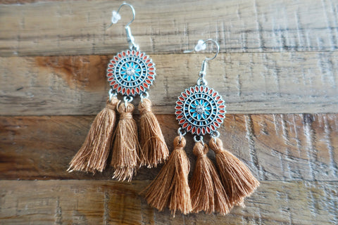 Coffee Fringe Tassel Earrings
