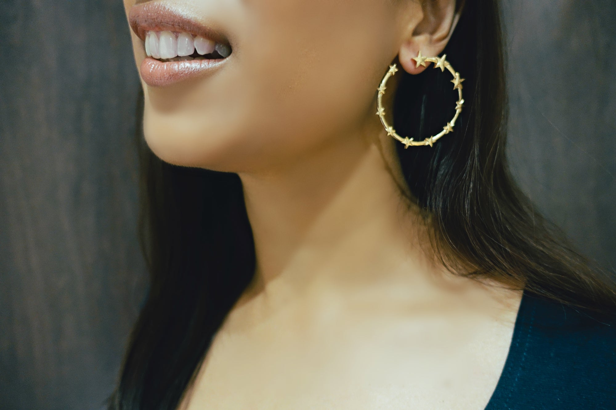 Gold Star Hoop Earrings - Bay & Harbour