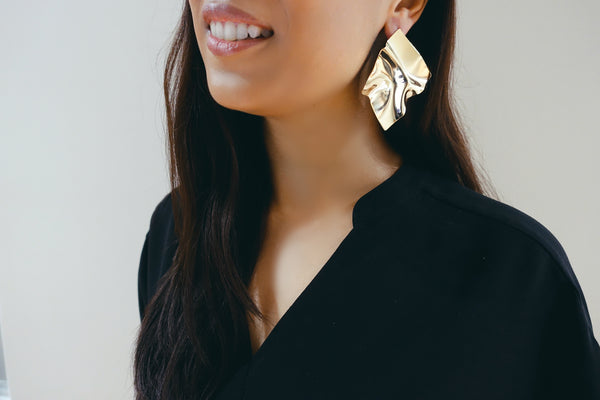 Gold Folded Metal Stud Earrings