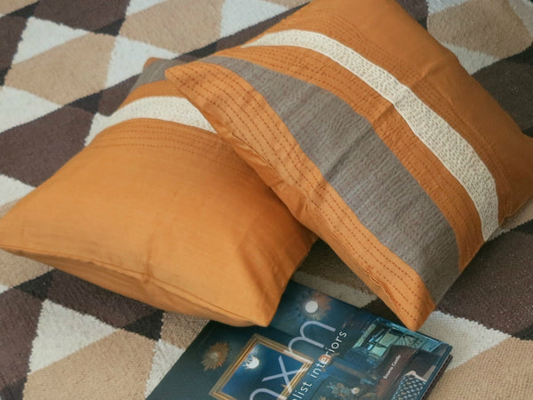 Orange Dreams - Pure Silk Patch Work Cushion Cover