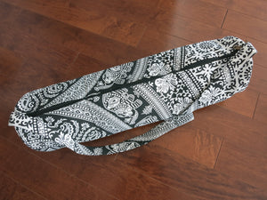 Black & White Tribal Hand-Printed Yoga Bag