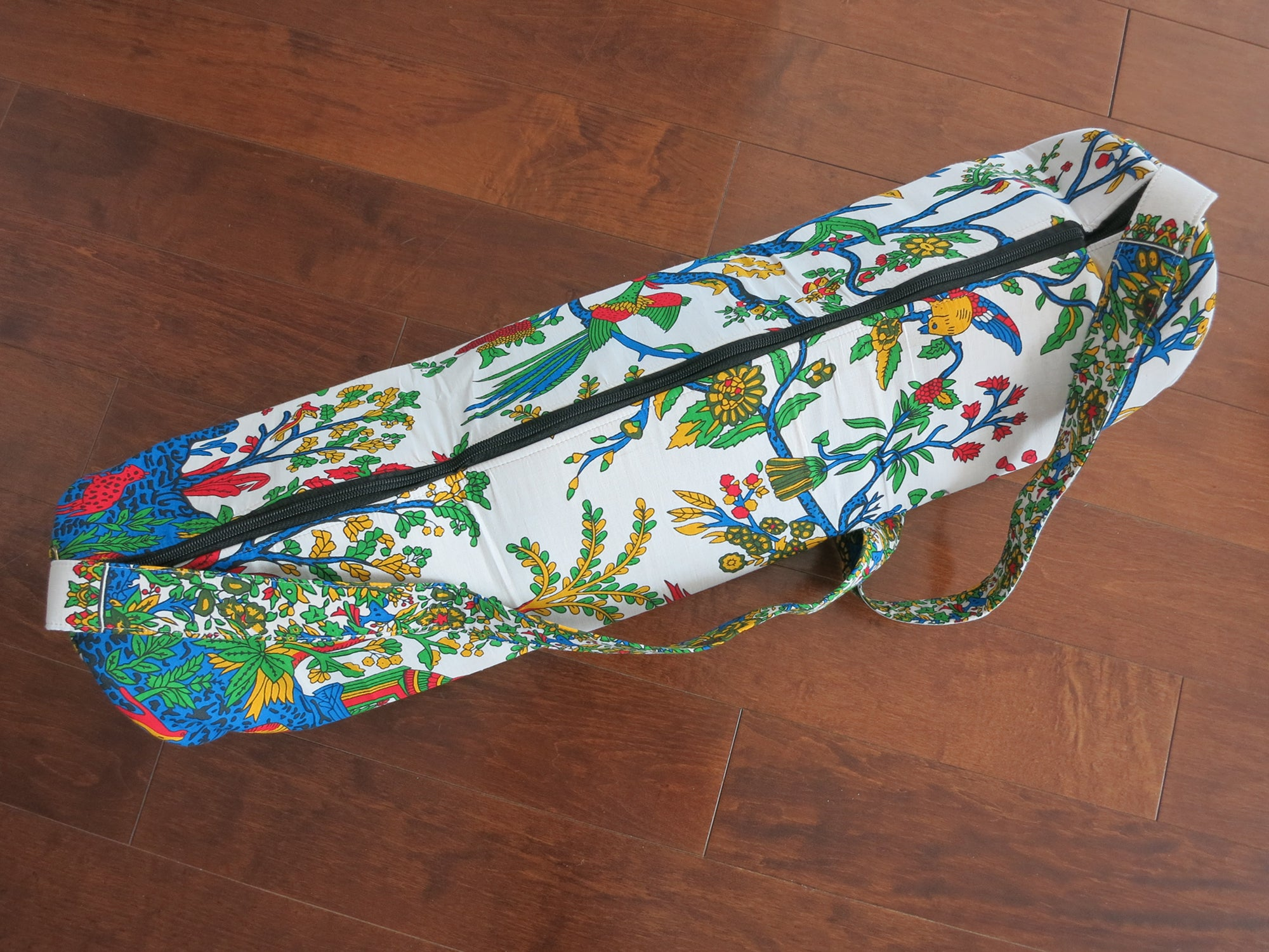 Floral Hand-Printed Yoga Bag