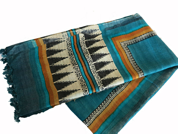 Bhagalpur Teal Silk Stole - Bay & Harbour