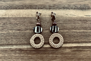 Acrylic & Rattan Drop Earrings