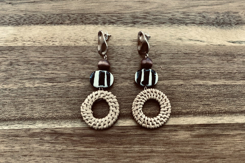 Acrylic & Rattan Drop Earrings - Bay & Harbour