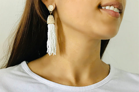 White Beaded Dangle Earrings - Bay & Harbour