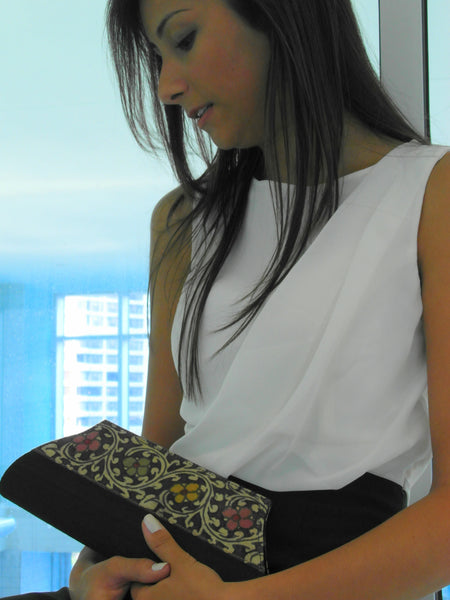 Black Flowers & Red Peacock Raw Silk Clutches - Bay & Harbour