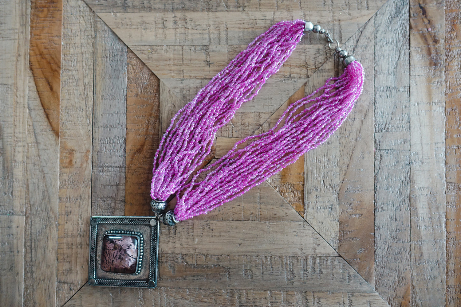 Pink Multi-Strand Beaded Necklace