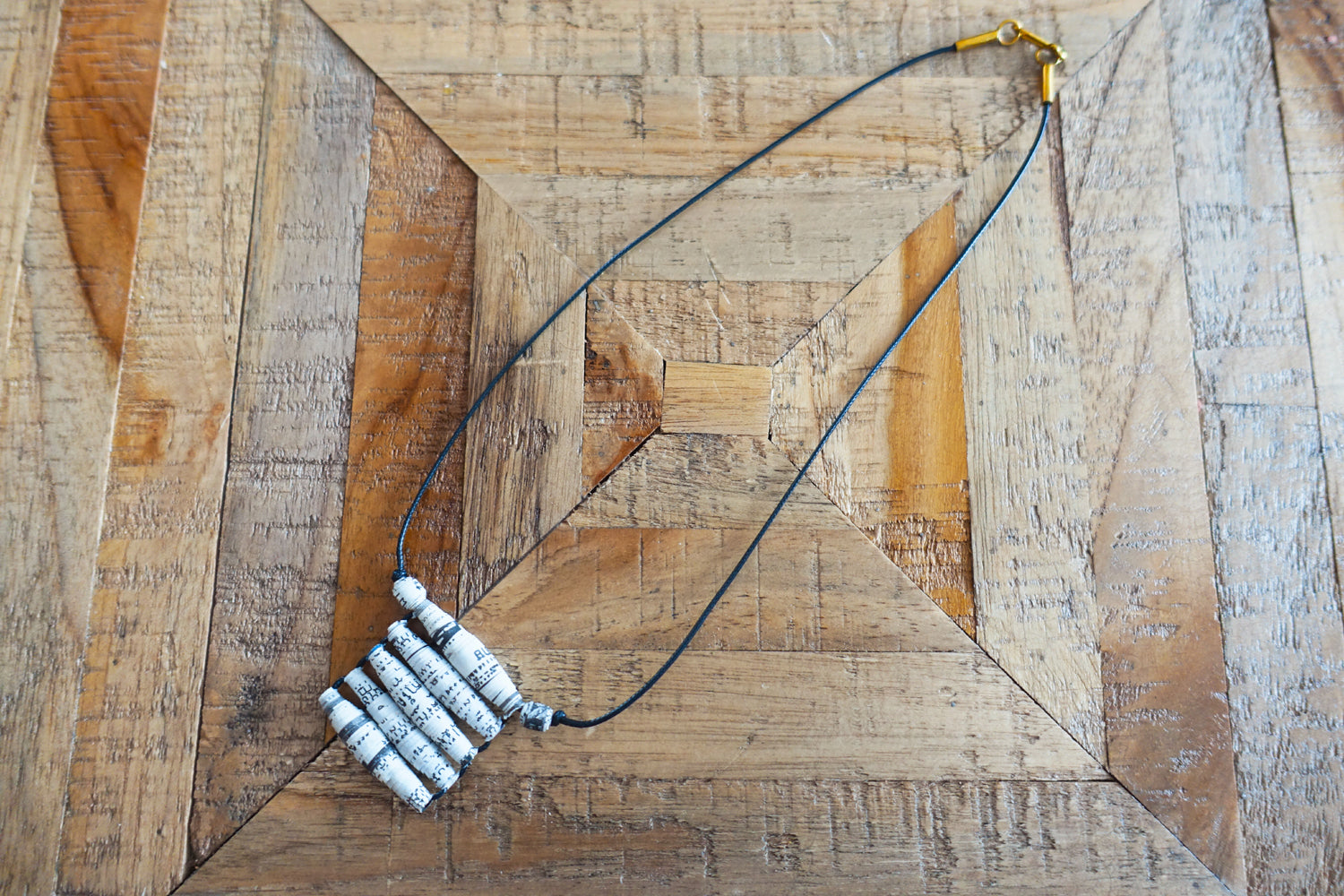Recycled Newspaper Pendant Necklace