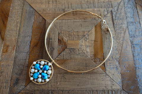 Blue Turquoise Collar Necklace - Bay & Harbour