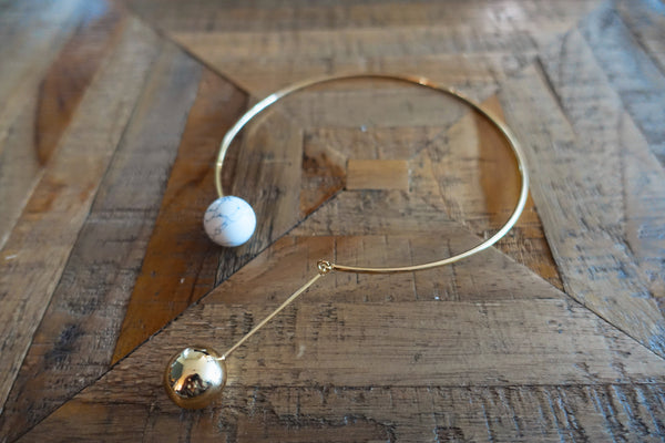 White Turquoise Open Collar Necklace