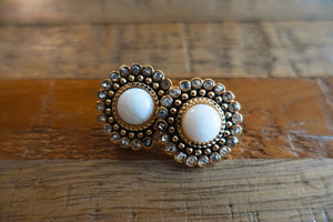 Regal White Stud Earrings - Bay & Harbour