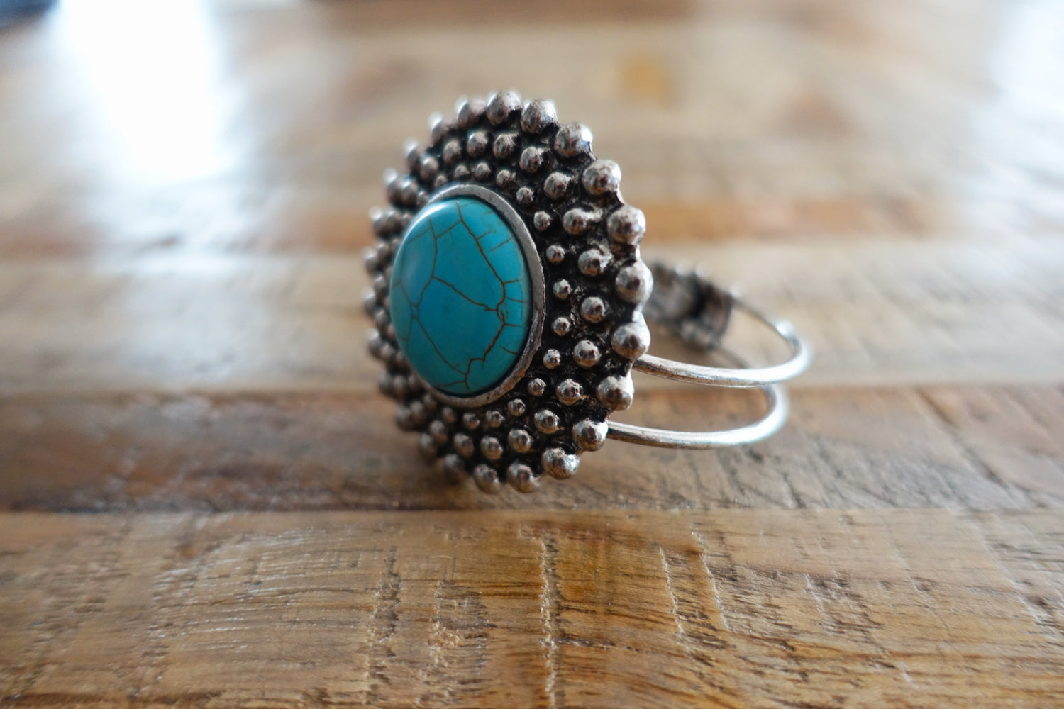 Turquoise Flower Metal Cuff