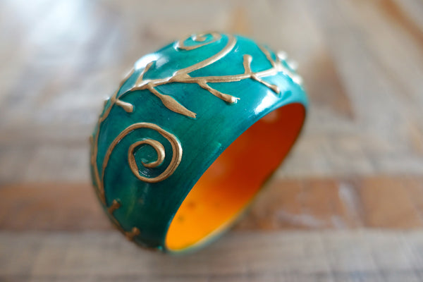Hand-Painted Embossed Wooden Bangle