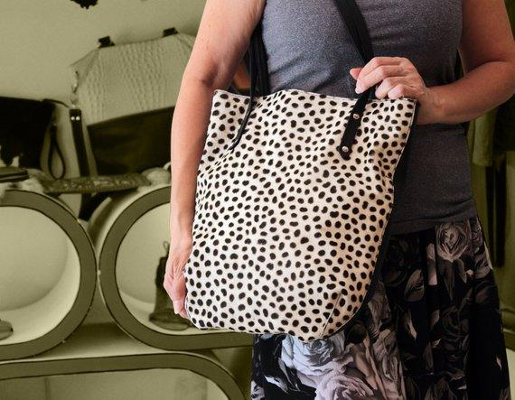 LEOPARD PRINT BAG, Hair on Hide Black and White,