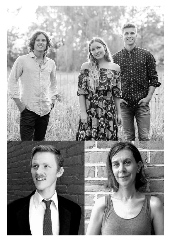 Scheduled to Perform at Lancaster Mennonite Historical Society's Annual Music Night (Clockwise, from top) A Girl Named Tom, Jessica Smucker, & Julian Harnish