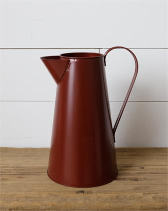 Tin Pitcher: Red 10.5