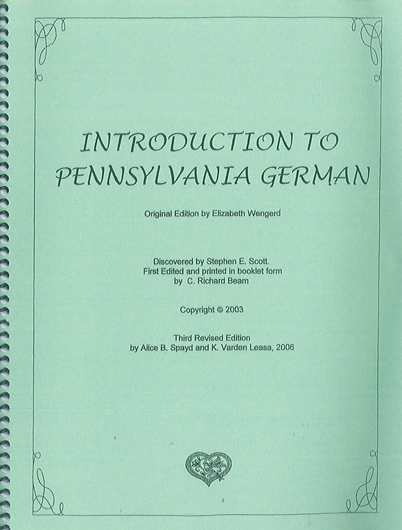 Introduction to Pennsylvania German