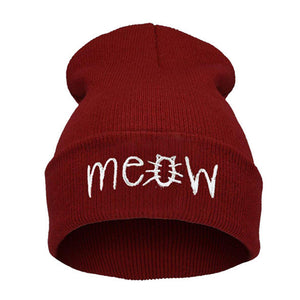 "Unisex Multi-Colored Printed ""MEOW"" Beanie"