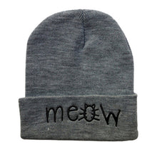 "Load image into Gallery viewer, Unisex Multi-Colored Printed ""MEOW"" Beanie"