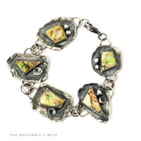 Galaxy Opals and Sterling Silver OOAK Bracelet