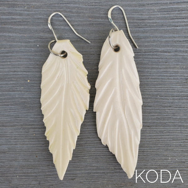 White Feather Earrings - Long