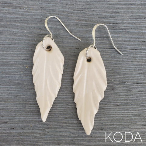 White Feather Earrings - Short