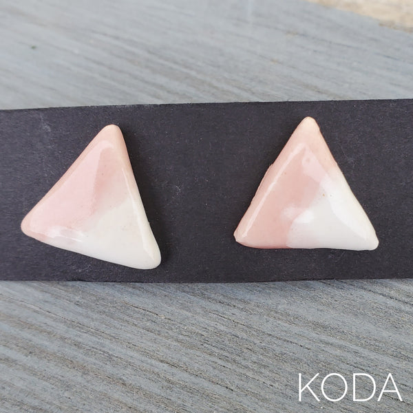Spectrum Triangle Earrings - Cherry Blossom