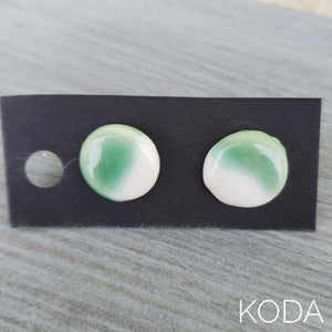 Spectrum Button Earrings - Jade