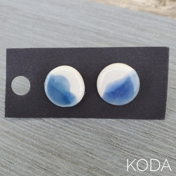 Spectrum Button Earrings - Sky