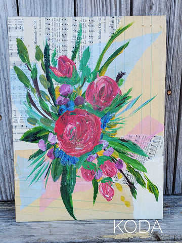 Mixed Media Floral Painting 002