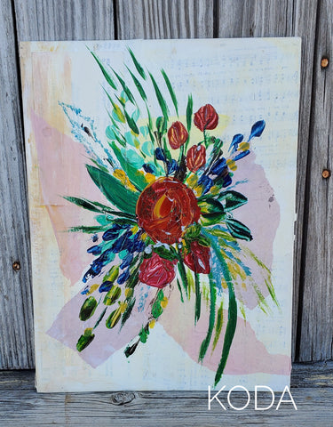 Mixed Media Floral Painting 003