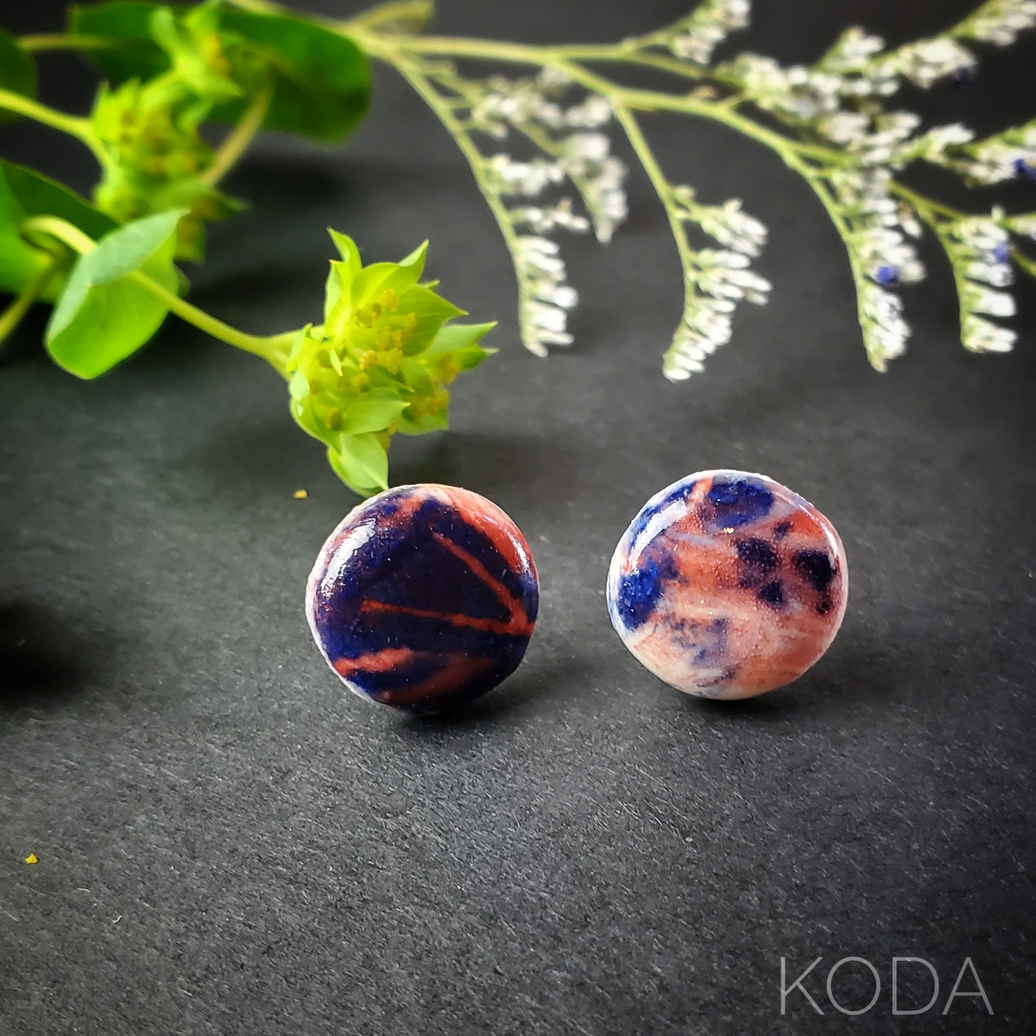 Graffiti Red, White and Blue Mini Button Earrings 003