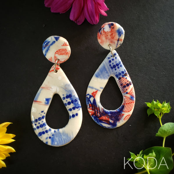 Graffiti Red, White & Blue Amber Earrings 001