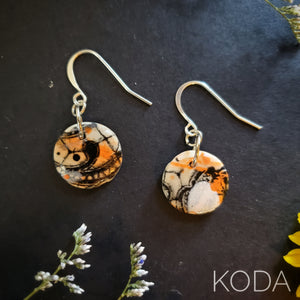 Graffiti Orange & Black Button Hook Earrings 001