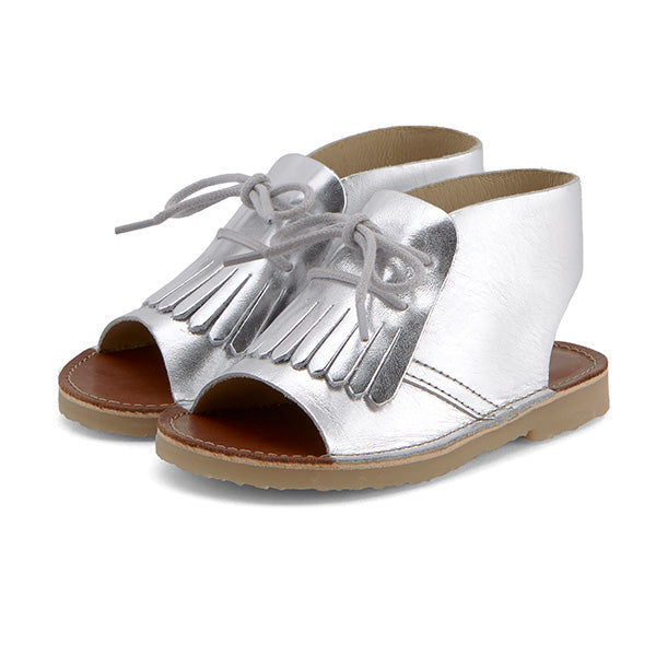 Agnes Kilted Boot Sandal Silver Leather