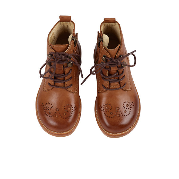 Buster Brogue Boots Tan Burnished Leather