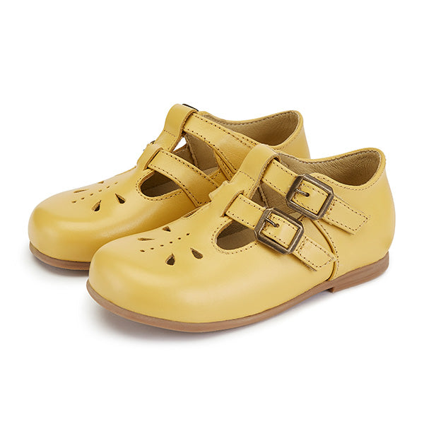 Lucy Velcro T-bar Shoe Mellow Yellow Leather