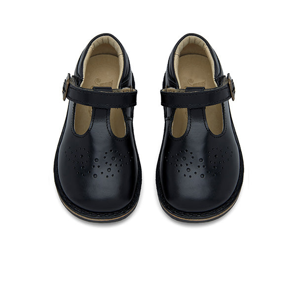 Penny Velcro T-bar Shoe Black Leather